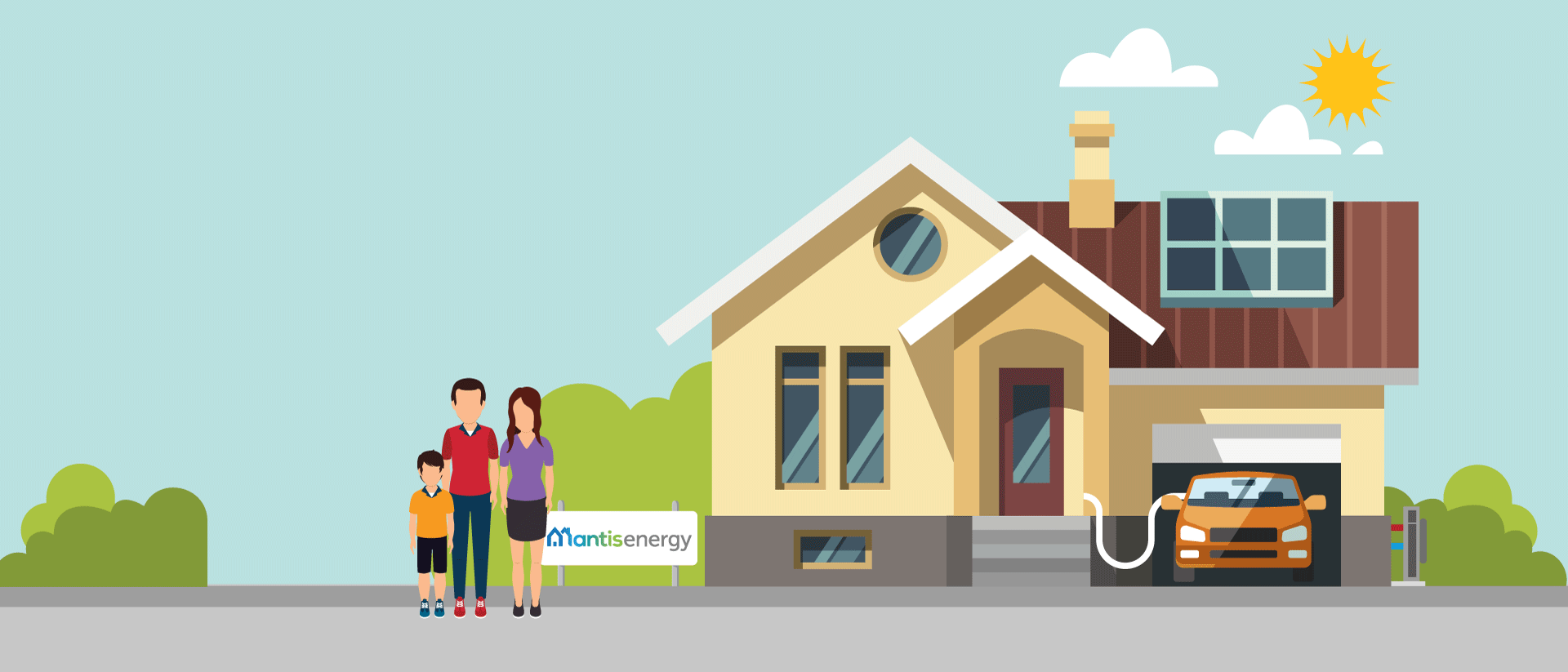 Mantis Energy Case Study - Family outside energy efficient home