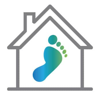 Home icon with footprint - reduce carbon footprint with Mantis Energy