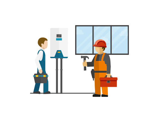 Icon graphic for Mantis Energy showing Contractors at work on an energy installation