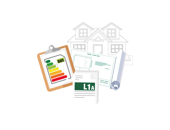 Icon graphic for Mantis Energy of house plans with documents for a SAP Calculations
